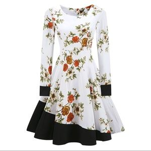 VINTAGE Style Long Sleeve White Floral Swing Dress